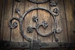 gothic wrought iron floral ornament on wooden door