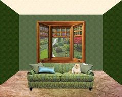 cat on sofa at bay window, interior visualization
