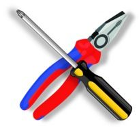 hand tools, pliers and screwdriver, illustration