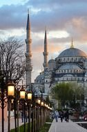 blue mosque in city at evening, turkey, istanbul