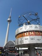 tv tower and world clock on alexanderplatz, germany, berlin