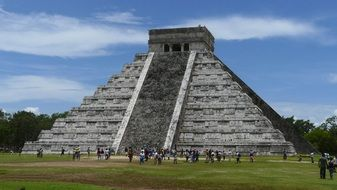 people at ancient Maya temple, mexico, chichen-itza