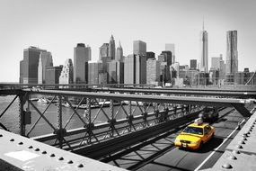 new york yelow taxi bridge city view
