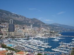 cityscape with ships at harbor, monaco, monte carlo