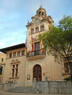 city hall, old building with flags on facade, spain, majorca