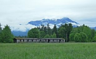 ruined wooden farm building on green meadow at snow capped mountains