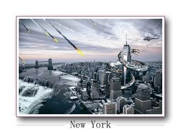 giant snake on skyscraper, armageddon in new york city, fantasy illustration