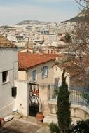 old houses in cityscape, greece, athens
