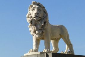 lion statue at the end of Westminster Bridge at sky, uk, england, london
