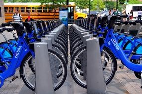 blue bicycles on parking in city, usa, manhattan, nyc