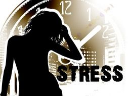 woman silhouette at stopwatch, stress, illustration