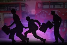 running men silhouettes at big buses, illustration