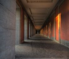 long gallery with painted stone walls, perspective, germany, weimar