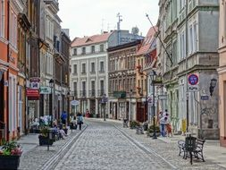 street with cobblestone pavement in old town, poland, bydgoszcz