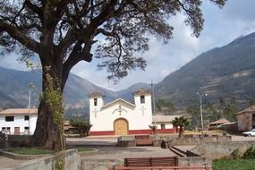 small spanish style church at mountains, peru