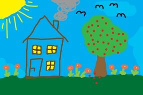 children drawing home tree meadow sunny birds
