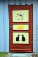 building home colorful pictures cat sun bird door