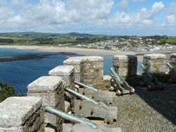 medieval canons on wall of st michael's mount castle, uk, england, cornwall