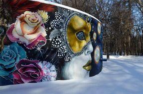 mural on wall in winter park, canada, winnipeg