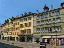 small shops in old buildings, france, chambery