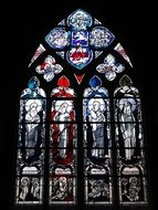 colorful stained glass window of cathedral, germany, fritzlar