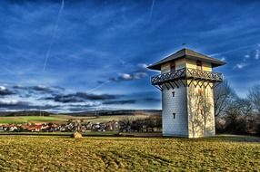 old tower at field in countryside, germany