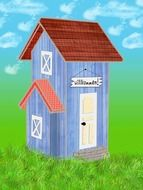 small wooden building, colorful illustration
