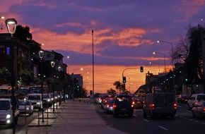 street traffic in city at dusk, chile, Vina del Mar