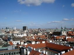 roofs of city under blue sky, austria, vienna