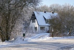 forester house at winter, landscape