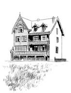 vintage village house, drawing