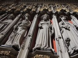gothic statues on facade of Minster, uk, england, york
