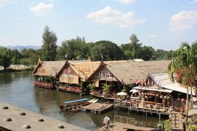 restaurants in traditional floating buildings, thailand