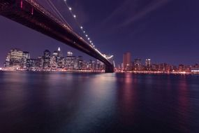 new york city and brooklyn bridge at night, usa, manhattan