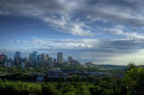 gorgeous skyline of modern city under clouds, canada, edmonton