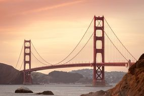 golden gate bridge in sunset sky