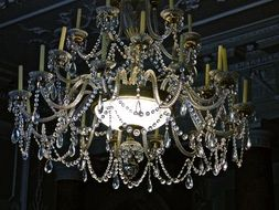 crystal ceiling light with candles