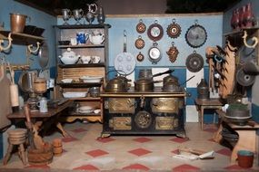 antique dishes and kitchen` appliances