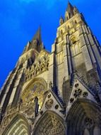 Cathedral of Our Lady towers at evening sky, france, bayeux