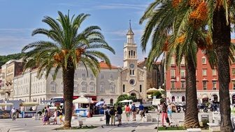 people on square in old town, croatia, split