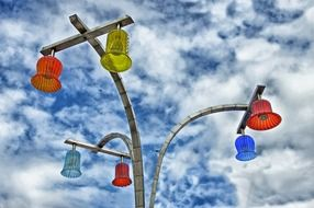 bright colored street lanterns at sky, austria, vienna