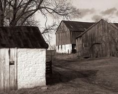 old barns at countryside, usa, maryland, antietam