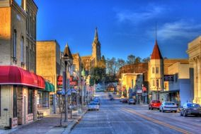 picturesque old downtown, usa, washington, wisconsin