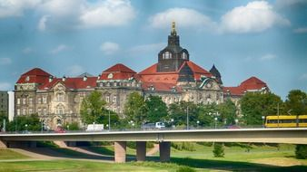 traffic on bridge at State Chancellery of Saxony, germany, dresden