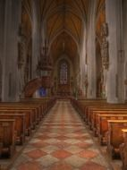 altar in interior of gothic church, germany