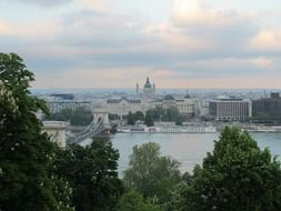 city at summer evening, hungary, budapest