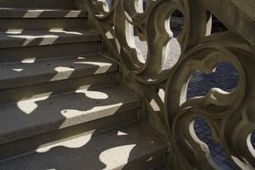 gothic staircase with balustrade outdoor, switzerland, bern