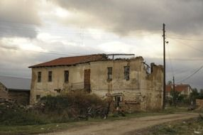 storm-destroyed house in Macedonia