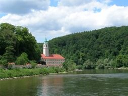 weltenburg abbey at Danube river in summer landscape, germany, bavaria