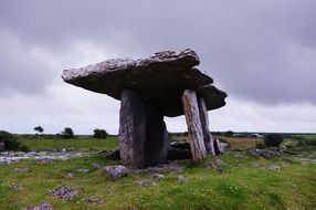 poulnabrone dolmen, ancient stone portal tomb at clouds, uk, ireland, Burren